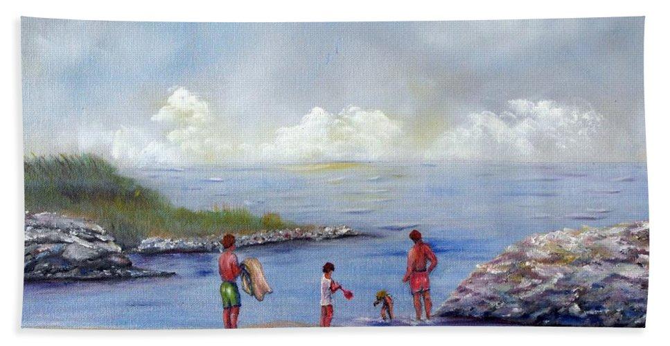 Rock Hall Bath Sheet featuring the painting Rock Hall Beach by Loretta Luglio