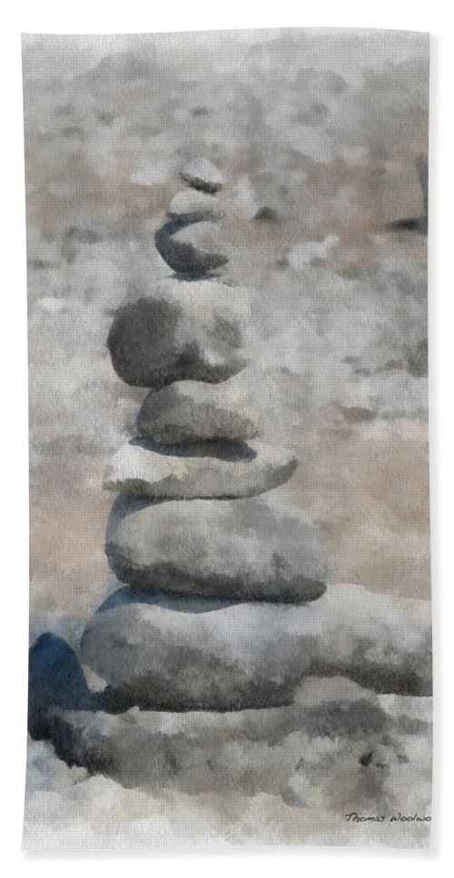 Rock Markers Hand Towel featuring the photograph Rock Markers Photo Art 01 by Thomas Woolworth