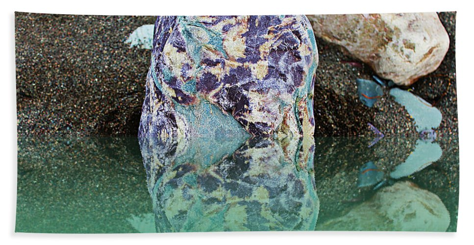 Rock Reflections Bath Sheet featuring the photograph Rock Reflections - Water - Beach by Barbara Griffin