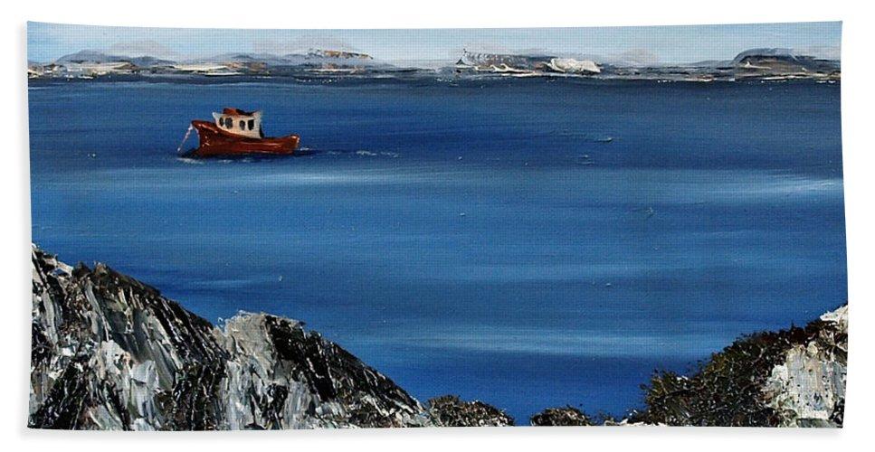 Gorteen Bath Sheet featuring the painting Rock View by Corina Hogan