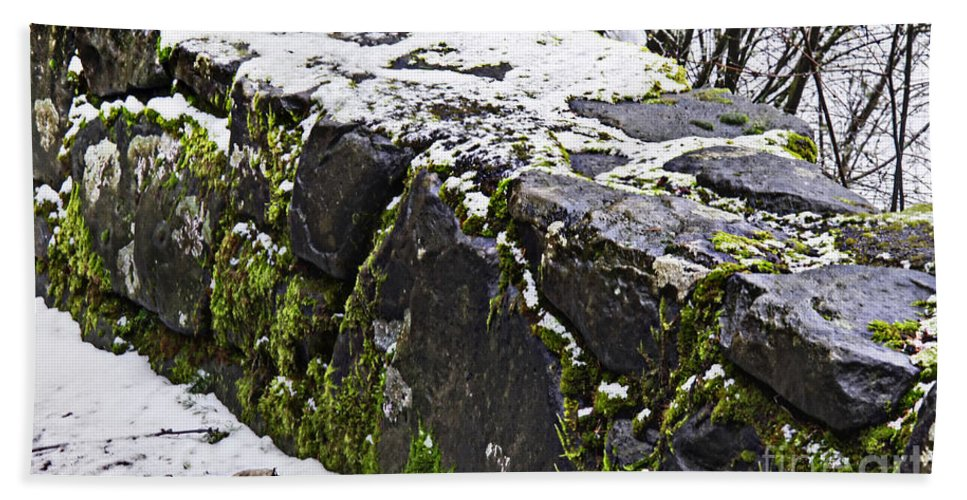 Rock Wall Hand Towel featuring the photograph Rock Wall With Moss And A Dusting Of Snow Art Prints by Valerie Garner