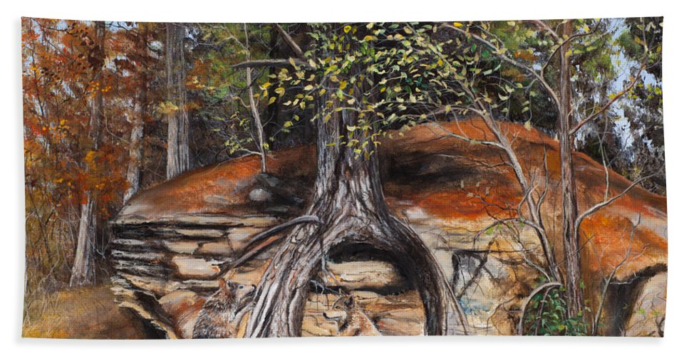 Wolf Hand Towel featuring the painting Rock Wolf Den by Catfish Lawrence