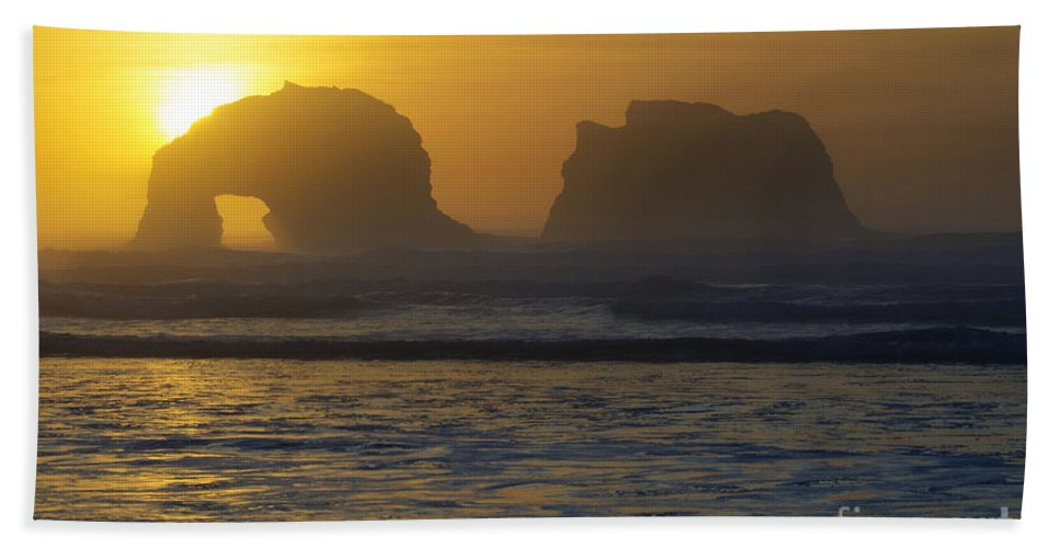 Rockaway Bath Sheet featuring the photograph Rockaway Beach Oregon Turning The Sky To Gold by Bob Christopher