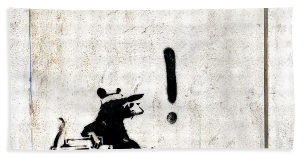 Banksy Bath Sheet featuring the painting Rocking It Old School by A Rey