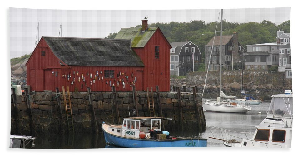 Harbor Bath Sheet featuring the photograph Rockport Inner Harbor With Lobster Fleet And Motif No.1 by Christiane Schulze Art And Photography