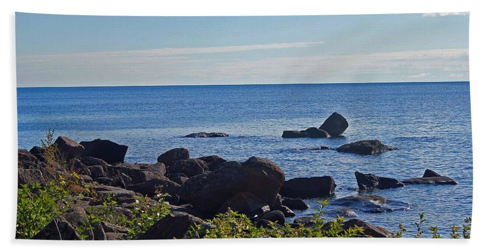 Rocks Hand Towel featuring the photograph Rocks Of Lake Superior by Stephanie Hanson