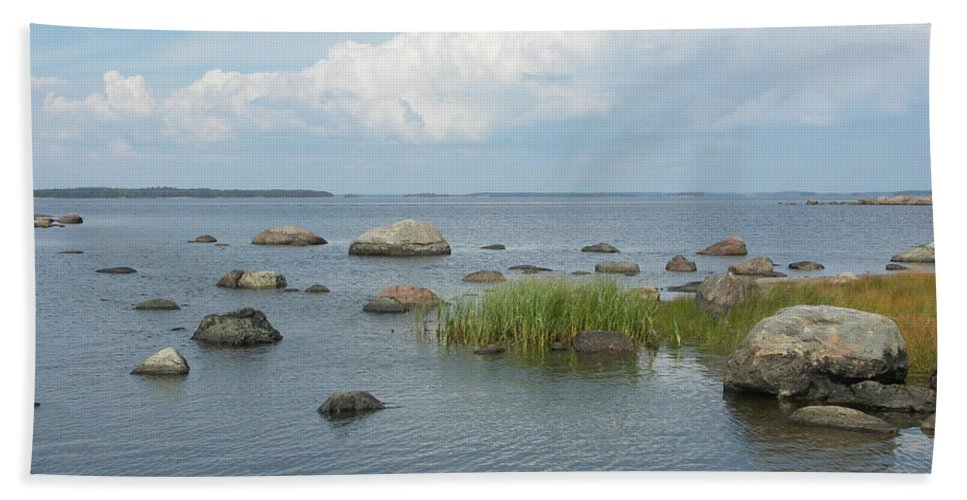 Rocks On The Sea Hand Towel featuring the painting Rocks On The Baltic Sea by Ilkka Porkka