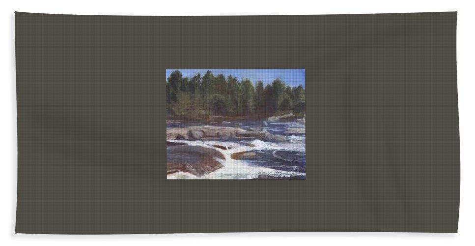 Rocks Bath Towel featuring the painting Rocks by Sheila Mashaw