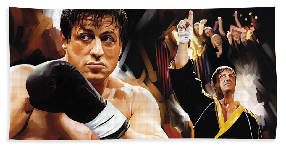 Rocky Paintings Hand Towel featuring the painting Rocky Artwork 2 by Sheraz A