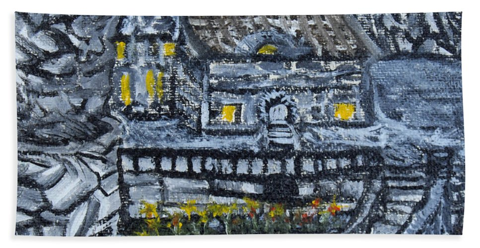 Rocks Bath Sheet featuring the painting Rocky Cottage by Suzanne Surber