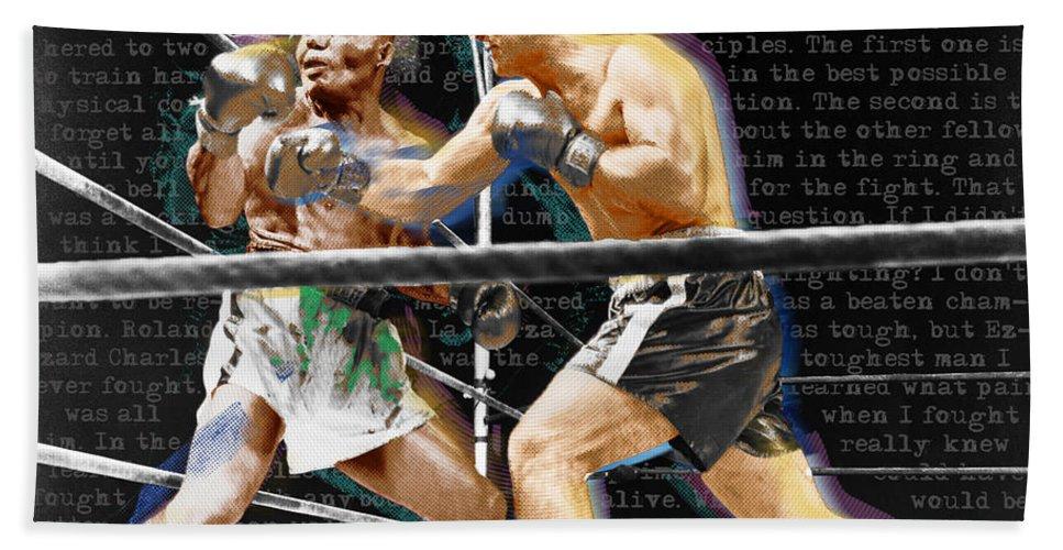 Rocky Marciano Hand Towel featuring the painting Rocky Marciano V Jersey Joe Walcott Quotes by Tony Rubino