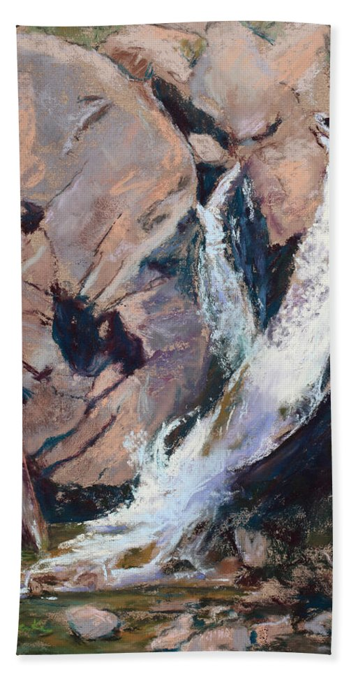 Waterfall Hand Towel featuring the painting Rocky Mountain Cascade by Mary Benke