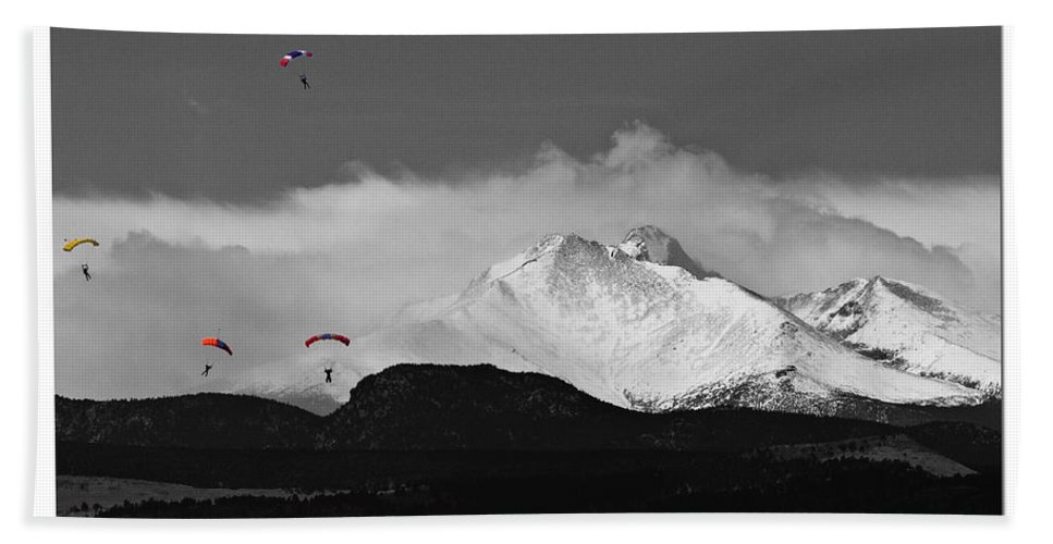 Boulder County; Boulder County The Book; Bouldercountybook.com; Colorado; Image; Photograph; Skydive; Skydiving; Mountains; Rocky Mountains; Snow Capped; Nature; Landscape; Parachuting; Jumps; Sport; Falling; Parachute; Free-fall; Skydivers Bath Sheet featuring the photograph Rocky Mountain High Poster Print by James BO Insogna