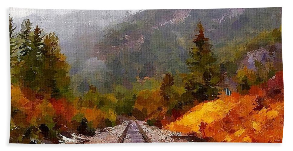 Canadian Rockies Bath Sheet featuring the painting Rocky Mountaineer by Chris Butler