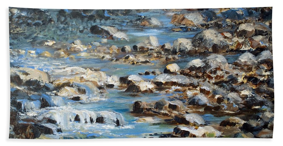 Rocks Hand Towel featuring the painting Rocky Shore by Joanne Smoley