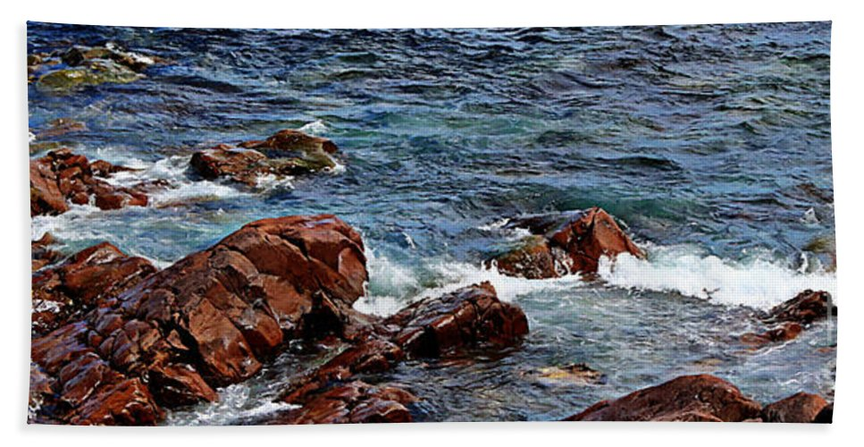 Barbara Griffin Bath Sheet featuring the photograph Rocky Shoreline - Coast - Painterly Effects - Panorama by Barbara Griffin