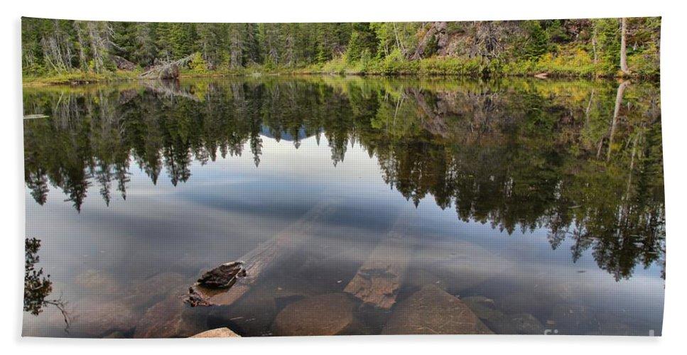 Swim Lake Bath Sheet featuring the photograph Rocky Shores At Swim Lake by Adam Jewell