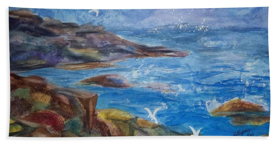 Maine Coast Bath Sheet featuring the painting Rocky Shores Of Maine by Ellen Levinson