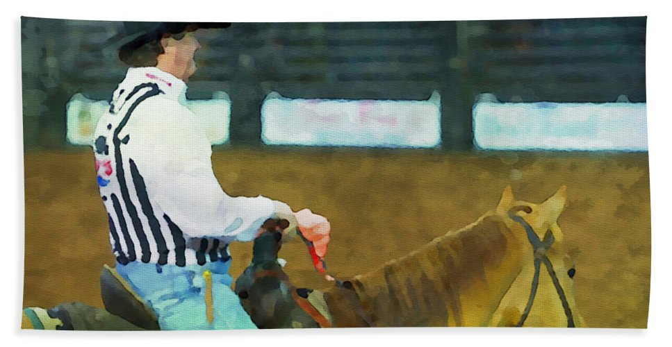 Cowboy Bath Sheet featuring the photograph Rodeo Cowboy Referee by Alice Gipson