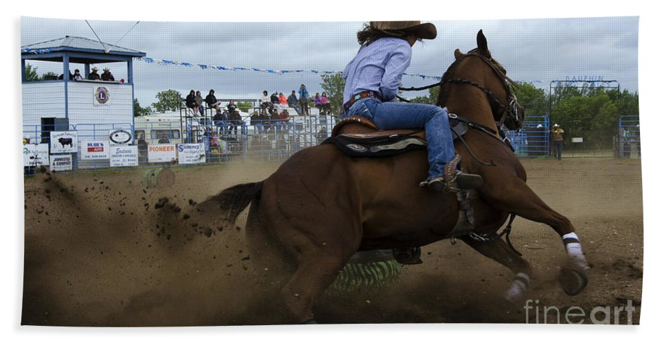 Barrel Bath Sheet featuring the photograph Rodeo Ladies Barrel Race 1 by Bob Christopher