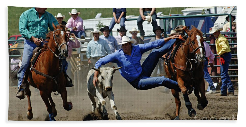 Rodeo Bath Sheet featuring the photograph Rodeo Steer Wrestling by Bob Christopher