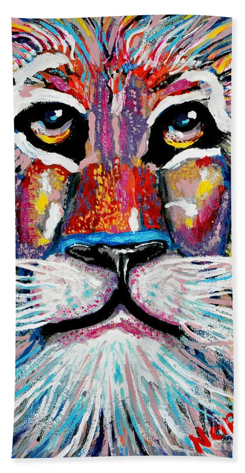 Abstract Lion Bath Sheet featuring the painting Rodney Abstract Lion by Barney Napolske
