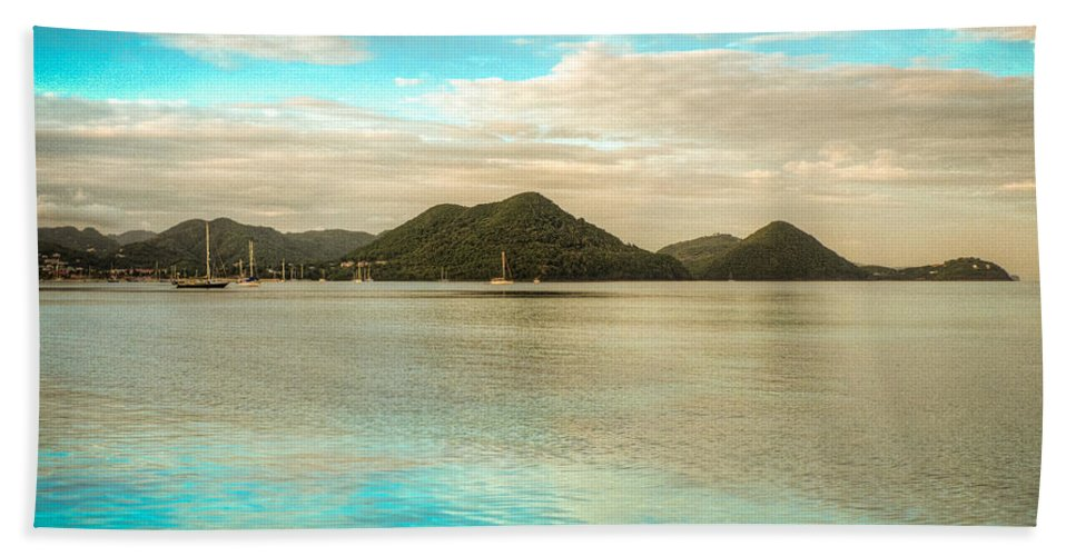 Saint Lucia Bath Sheet featuring the photograph Rodney Bay Glow by Ferry Zievinger