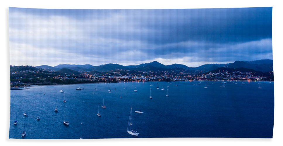 Landscape Bath Sheet featuring the photograph Rodney Bay Morning Blues by Ferry Zievinger