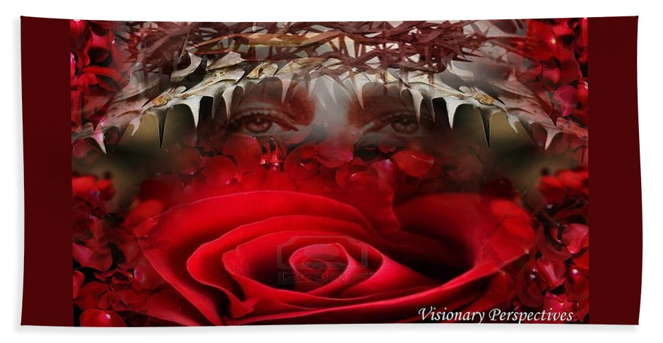 Rose Hand Towel featuring the photograph Roes Among Thorns by Jewell McChesney