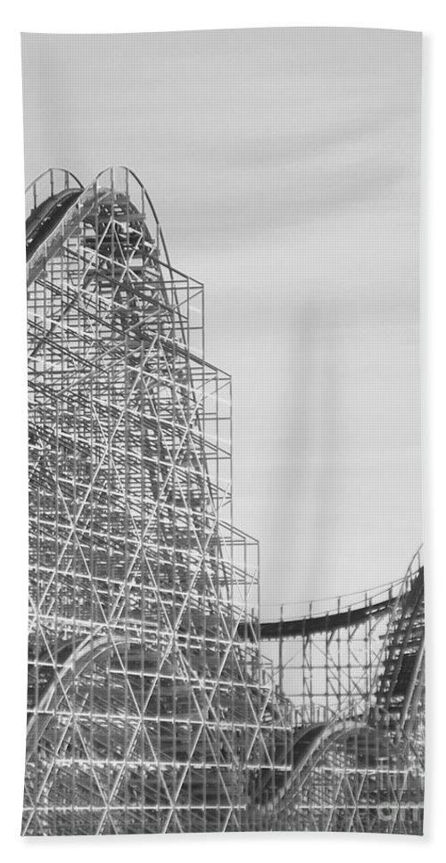Roller Coaster Hand Towel featuring the photograph Roller Coaster Wildwood by Eric Schiabor