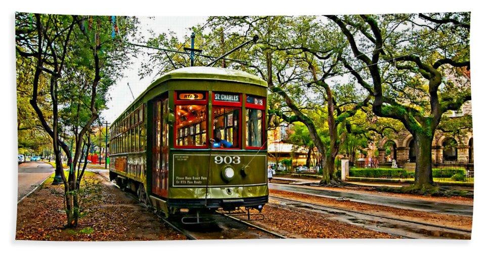 Garden District Bath Sheet featuring the photograph Rollin' Thru New Orleans Painted by Steve Harrington