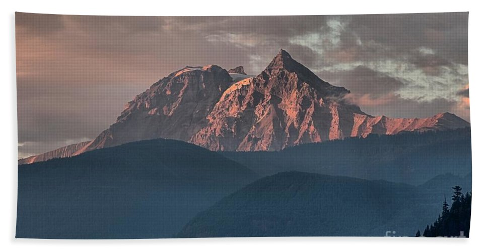 British Columbia Sunset Bath Sheet featuring the photograph Rolling Hills And Purple Tantalus Peaks by Adam Jewell
