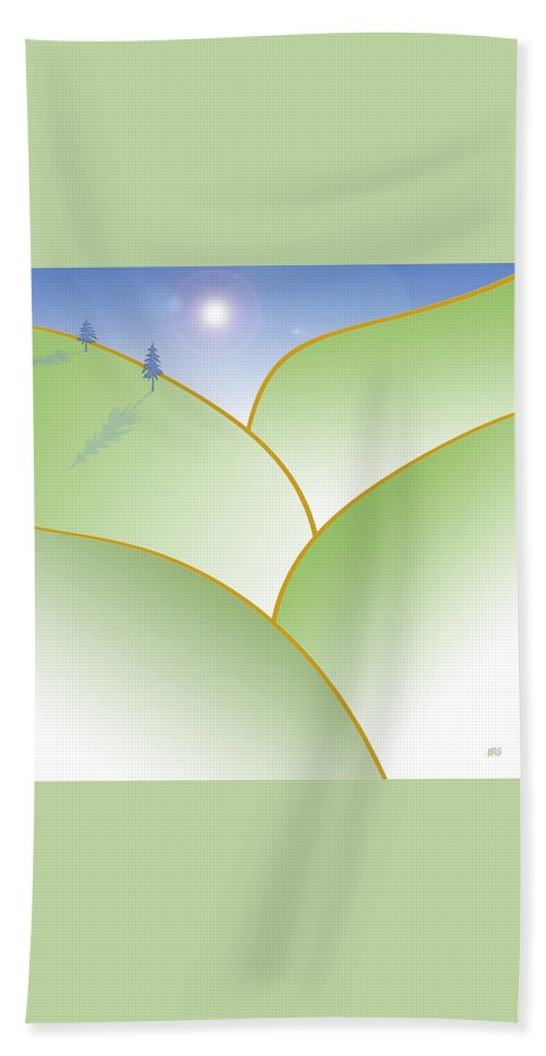 Minimalist Landscape Bath Sheet featuring the digital art Rolling Hills - When The Skies Are Blue by Ben and Raisa Gertsberg
