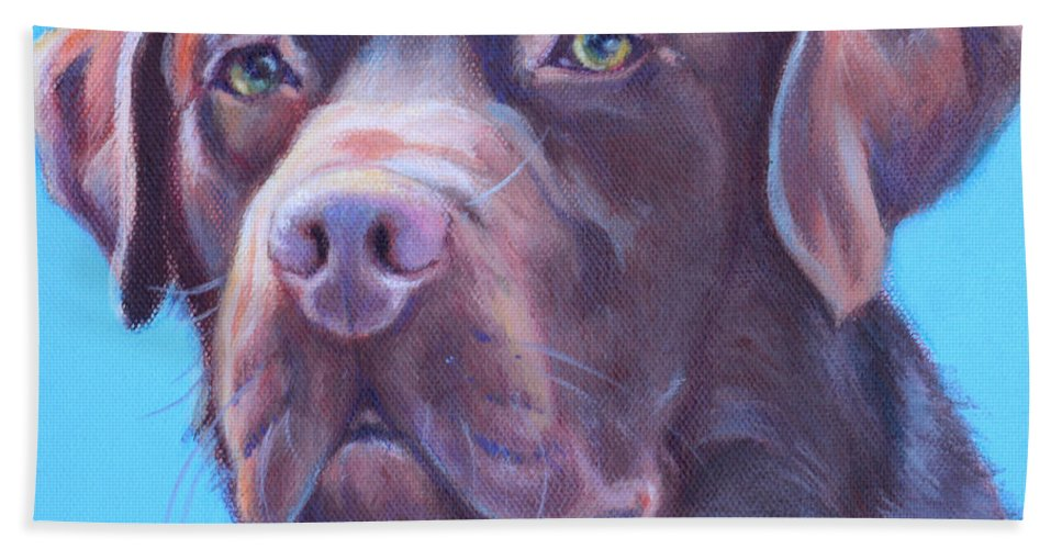 Chocolate Labrador Painting Bath Sheet featuring the painting Rolo by Deborah Cullen