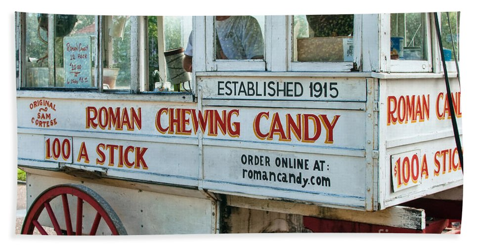 Kathleen K Parker Fine Art Hand Towel featuring the photograph Roman Chewing Candy Wagon In New Orleans by Kathleen K Parker