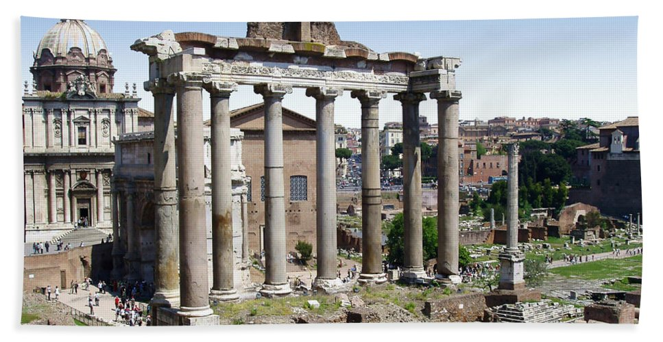 Roman Forum Bath Sheet featuring the photograph Roman Forum by Ellen Henneke