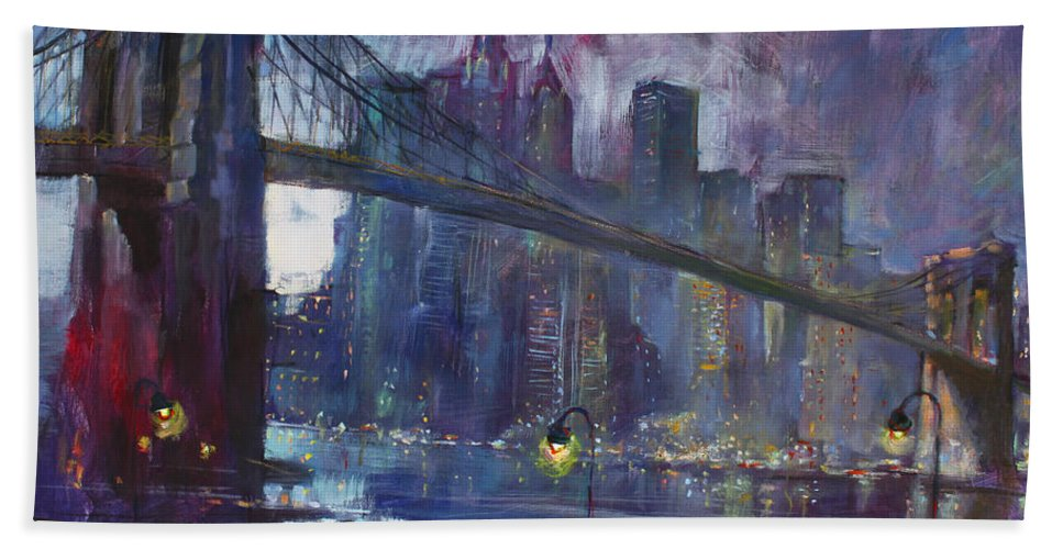 Brooklyn Bridge Bath Towel featuring the painting Romance by East River NYC by Ylli Haruni