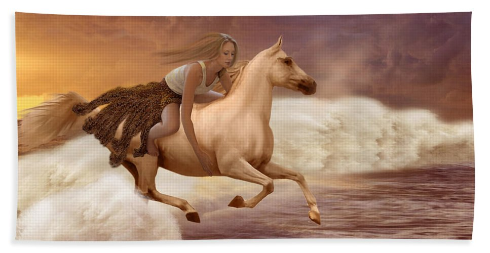 Girl Hand Towel featuring the painting Romance In Her Dream by Angela Stanton