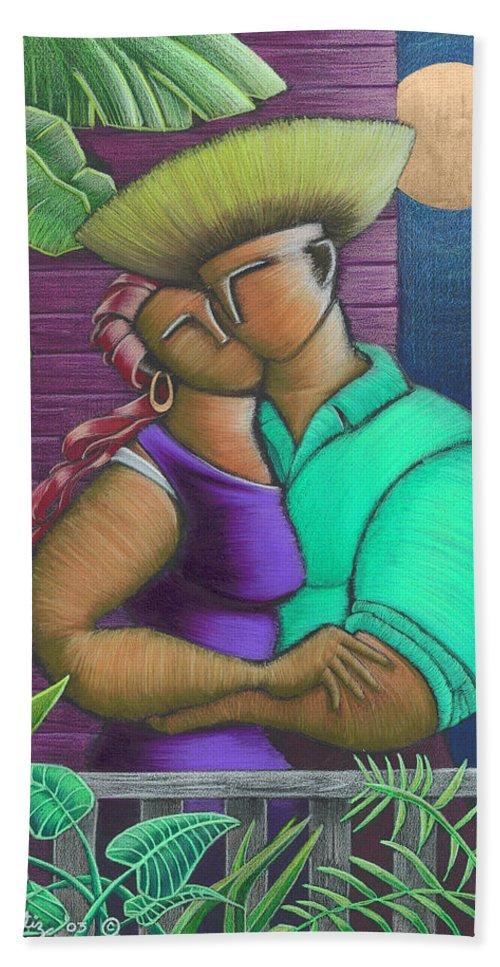 Puerto Rico Bath Towel featuring the painting Romance Jibaro by Oscar Ortiz