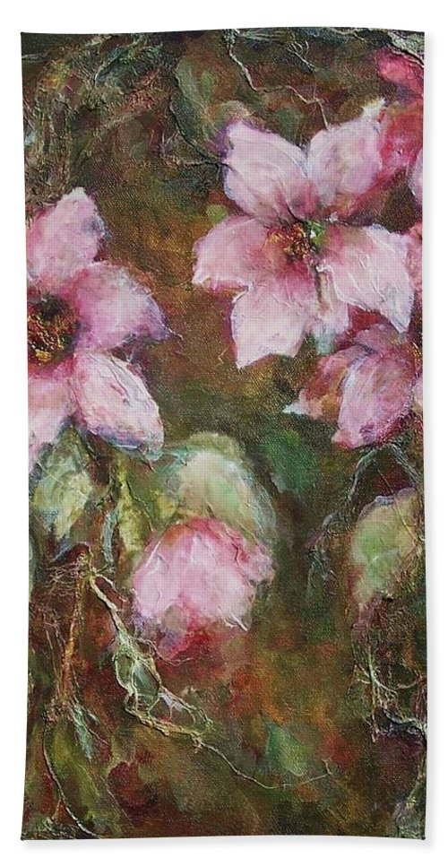 Floral Hand Towel featuring the painting Romance by Mary Wolf