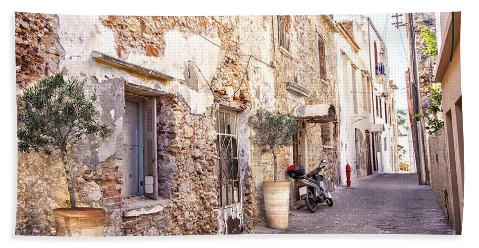 Crete Hand Towel featuring the photograph Romantic Chania Street by Sophie McAulay