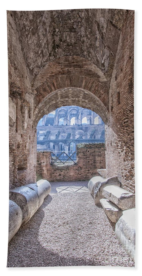 Colosseum Bath Sheet featuring the photograph Rome Colosseum Interior 01 by Antony McAulay