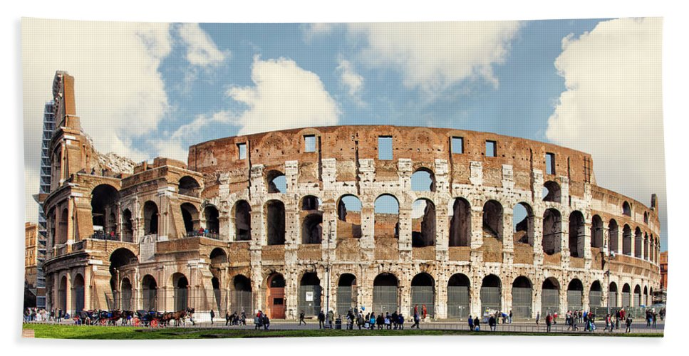 Rome Hand Towel featuring the photograph Rome Colosseum by Sophie McAulay