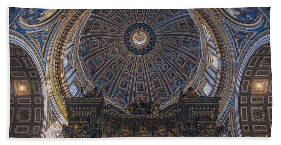 Vatican Bath Sheet featuring the photograph Rome Saint Peters Basilica Interior 01 by Antony McAulay