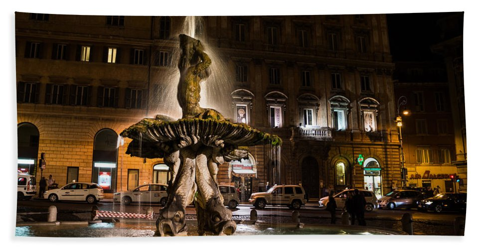 Rome Hand Towel featuring the photograph Rome's Fabulous Fountains - Fontana Del Tritone by Georgia Mizuleva