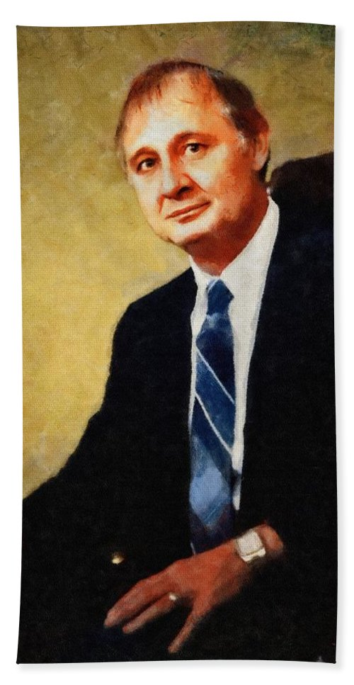 Ron Hand Towel featuring the painting Ron Kolker by Jeffrey Kolker