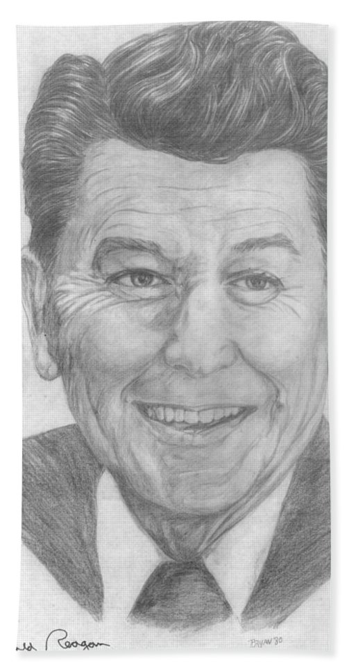 Ronald Reagan Bath Sheet featuring the drawing Ronald Reagan by Bryan Bustard