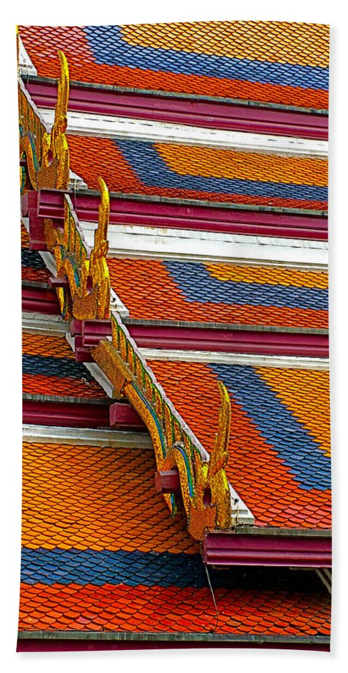 Roof Closeup Of Grand Palace Of Thailand In Bangkok Hand Towel featuring the photograph Roof Closeup At Grand Palace Of Thailand In Bangkok by Ruth Hager