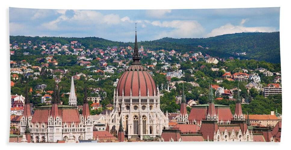 Parliament Bath Sheet featuring the photograph Rooftop Of Parliament Building In Budapest by Artur Bogacki