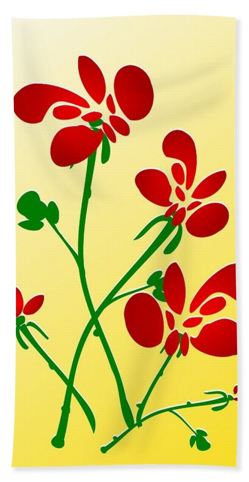 Red Bath Towel featuring the digital art Rooster Flowers by Anastasiya Malakhova